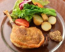鴨モモ肉のコンフィ マスタードソース