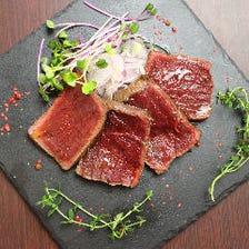 蝦夷鹿肉のレアステーキ