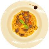 トロトロ茄子とトマトのスパゲッティ