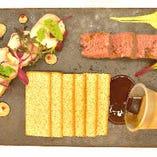 熊本の食材を使った贅沢な前菜3種盛り合わせ
