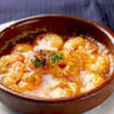 プリプリ海老のアヒージョ シェリー風味