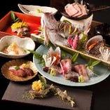季節の食材とお肉は産直、魚は天然にこだわった懐石コース。