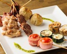 鶏串(6本)+野菜串(3本)盛り合わせ