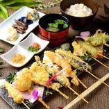 自慢の天ぷら串は22種類!!お野菜、海鮮、お肉と豊富にございます