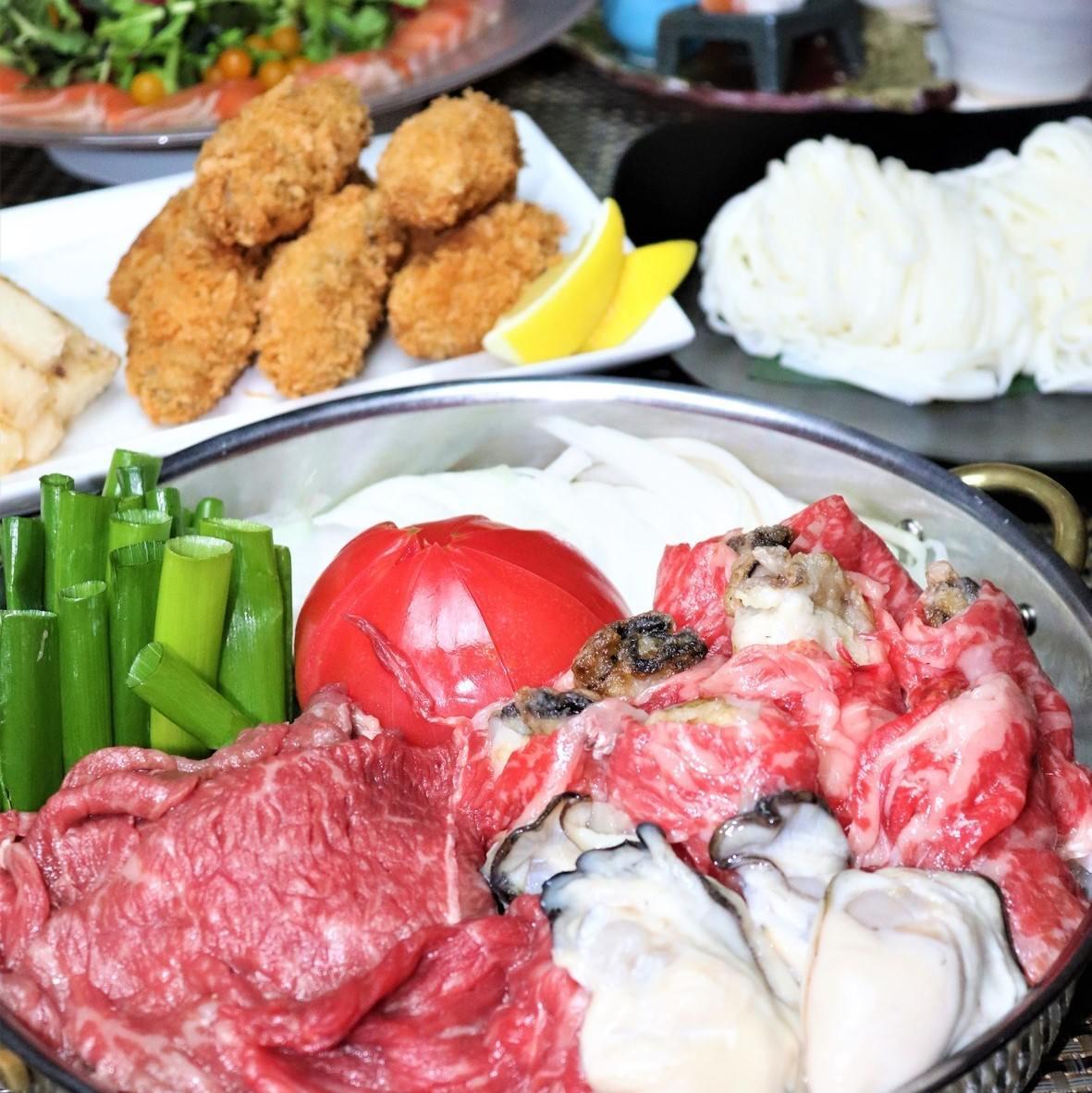 【飲み放題付き 宴会】牡蠣と黒毛和牛のトマトすき焼きコース 7,700円(税込)