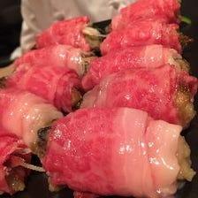 牡蠣と埼玉県産黒毛和牛の一口すき焼き