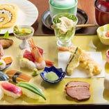 四季を感じる色彩鮮やかな美食膳。美味しいものを少しづつ