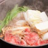 すき焼きのロース肉は、美しいサシが入った「クラシタ」を使用