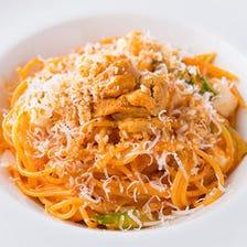 濃厚ウニのトマトクリームのスパゲッティーニ