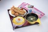 お子様に大人気のミニしらす丼セット。 嬉しいおもちゃ付き!!