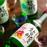チャミスルやマッコリなど韓国のお酒も充実◎