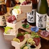 馬刺し500円で赤身とタテガミの二点盛り・焼酎や日本酒とどうぞ