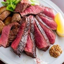 和牛から厳選した赤身肉の炭火焼き