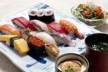 【魚河岸にぎり】お椀・茶碗蒸・サラダ付 1580円
