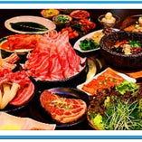 A.肉盛り合わせコース (飲み放題付き)¥4,500円⇒¥3,980円新宿店限定 (4名様から~) ※色々なお肉が付いた食べ応え十分なコース    飲み放題は120分になります。