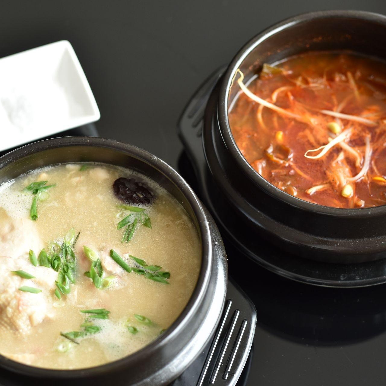 11月より新メニューとなった「参鶏湯」「ユッケジャンスープ」