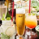 パーティプランは、ワインやハイボール、中国酒など15種のドリンクが飲み放題です。