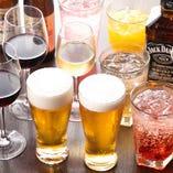 全てのコースは生ビールなどの約40種類のドリンクが飲み放題