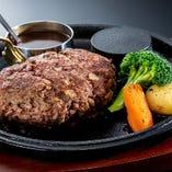 ★黒毛和牛100%★【ハンバーグステーキ ランチ《ポン酢》】 前菜・サラダ・ライス・スープ・デザート付