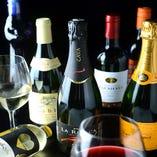 赤、白、スパークリングのワインの種類が豊富!ワイン好きに◎