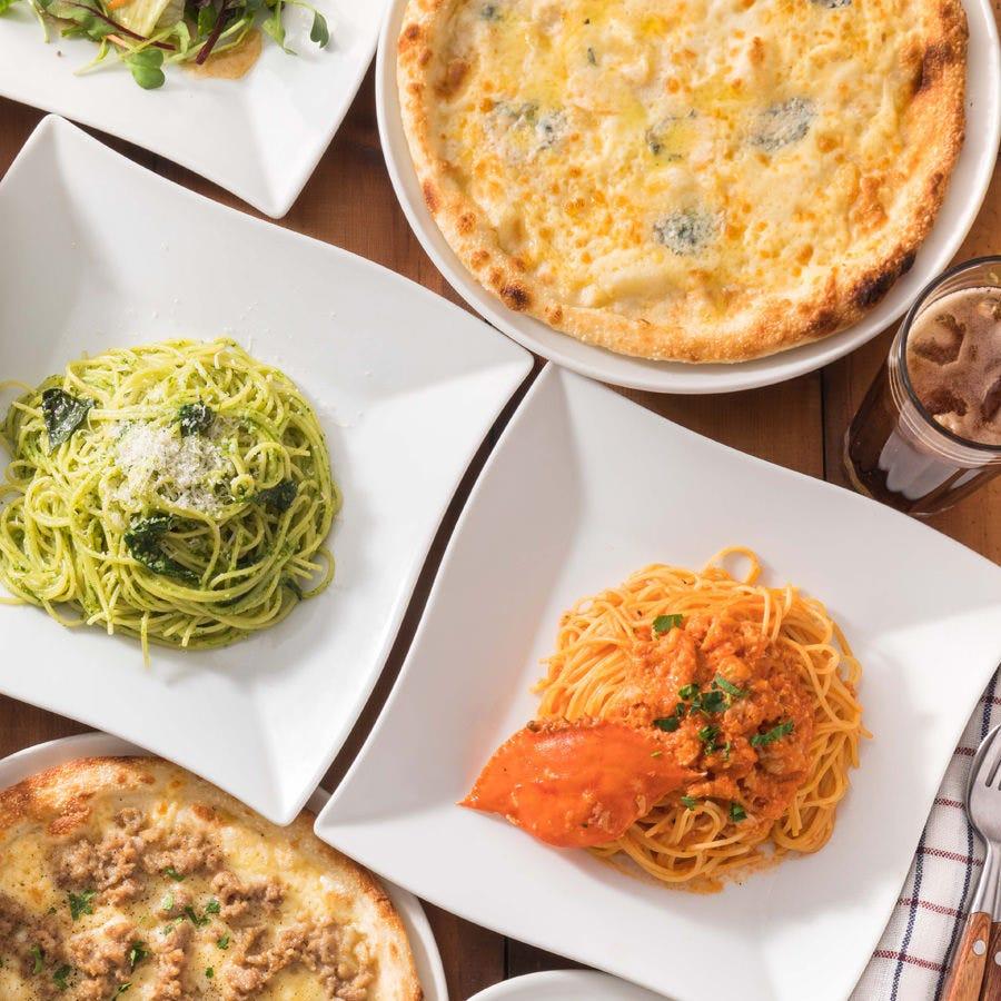 《人気のパスタやピザも》★スタンダード食べ放題コース<全32種>★ソフトドリンク飲み放題付!