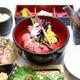 ランチ新メニュー、牛ひつまぶし御膳。桜のお出汁で薬味も色々。