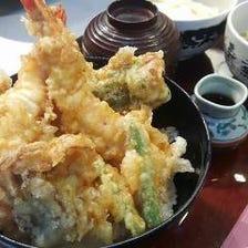 海老と野菜の天丼とひとくちそば