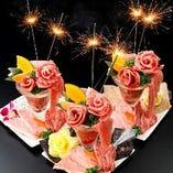 記念日や誕生日には人気の『肉パフェ』でサプライズ