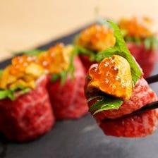 極上うにく寿司や野菜巻き串を堪能!