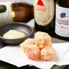 プチトマトの天ぷらバジルチーズソース