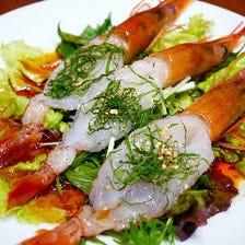岡山産食材と名物よだれ海老