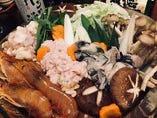 岡山産牡蠣や白子、あん肝が入った『痛風鍋』はコース限定!