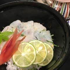 新鮮白身魚だし茶漬け(本日の白身魚、すだち)