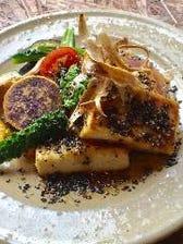 島豆腐のステーキと季節野菜
