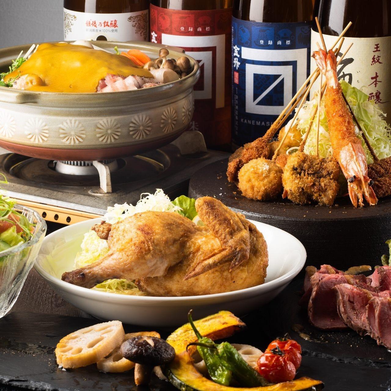 串揚げや鍋など人気料理を楽しむお得な飲み放題付コース