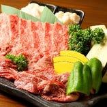 <焼肉コース>焼肉大皿2種、サラダ、刺盛り、ピザ、一品、ちらし寿司など7品/¥4,000~上限なし(税込)
