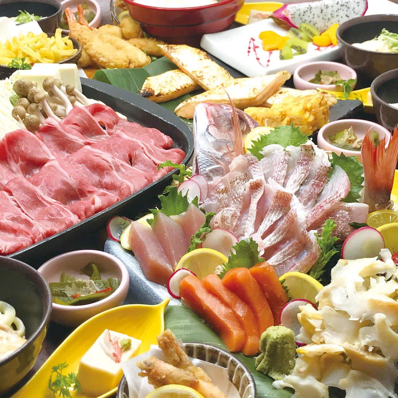 自慢の鮮魚と牛すき鉄板焼きが食べられる贅沢プラン♪