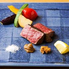 「ランチコース春秋」旬の野菜や魚介、黒毛和牛炭火焼きなど絶品揃い|全7品