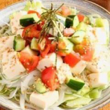 カラフルな見た目も楽しい「豆腐サラダ」。丁寧な仕事を施した野菜を自家製の和風ドレッシングで召し上がれ