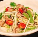 鯖と塩昆布とキノコと水菜の冷製パスタ