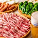 【飲み放題付BBQ】 たっぷりのお肉と野菜でビールが進む