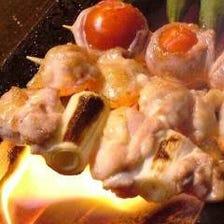新鮮な安曇野鶏の炭火串焼き110円~
