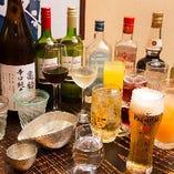 飲み放題では生ビールや日本酒、カクテルなど約40品をご提供