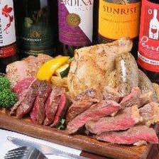 【コスパ◎コース】贅沢な肉盛りプレート付き料理7品+食べ放題55品55種&2H飲放題付き!