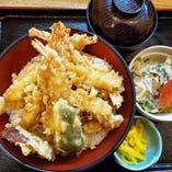 【B】天丼+小鉢