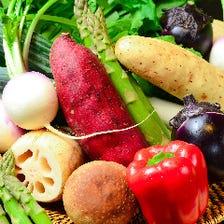 契約農家のお野菜、築地直送の魚介