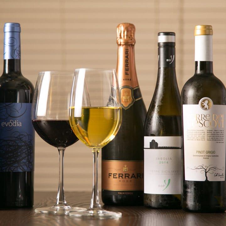 ワインは常時10種類以上ご用意!