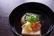 お椀 桜餅・赤豆豆乳の胡麻豆腐・筍姫皮・桜麩・木の芽