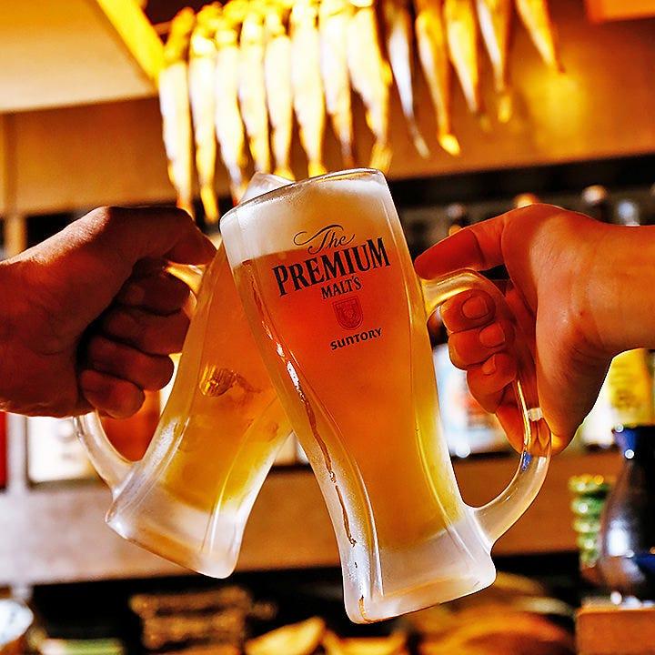 飲み放題のビールはプレモル!地酒追加オプションも必見です!!