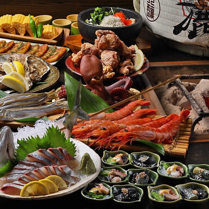 旬魚介とひねりの効いた逸品が揃うコース料理。お酒も進む♪